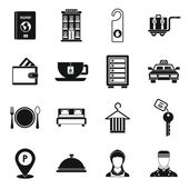 Hotel icons set in simple style.