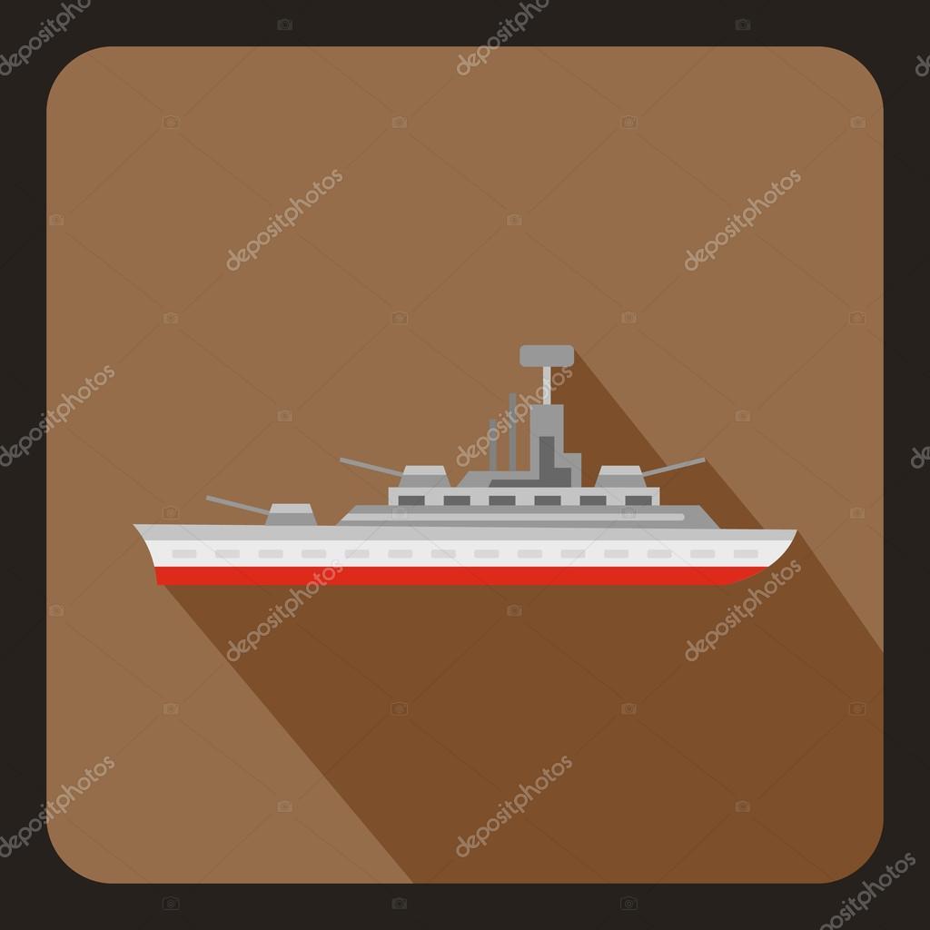 Military warship icon, flat style