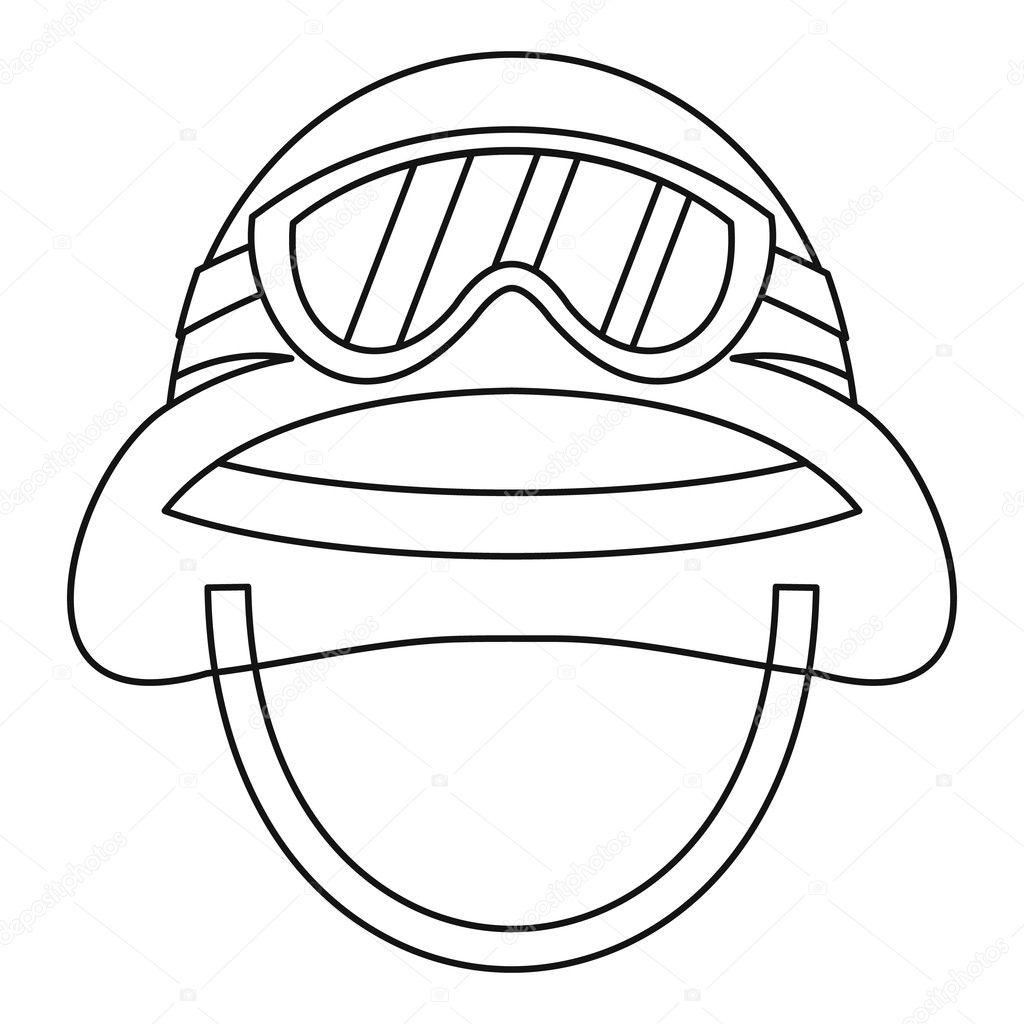 Militärische Metall Helmsymbol, Umriss-Stil-Ikone — Stockvektor ...