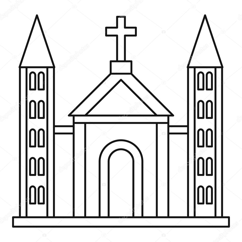 Catholic church building icon, outline style — Stock ...