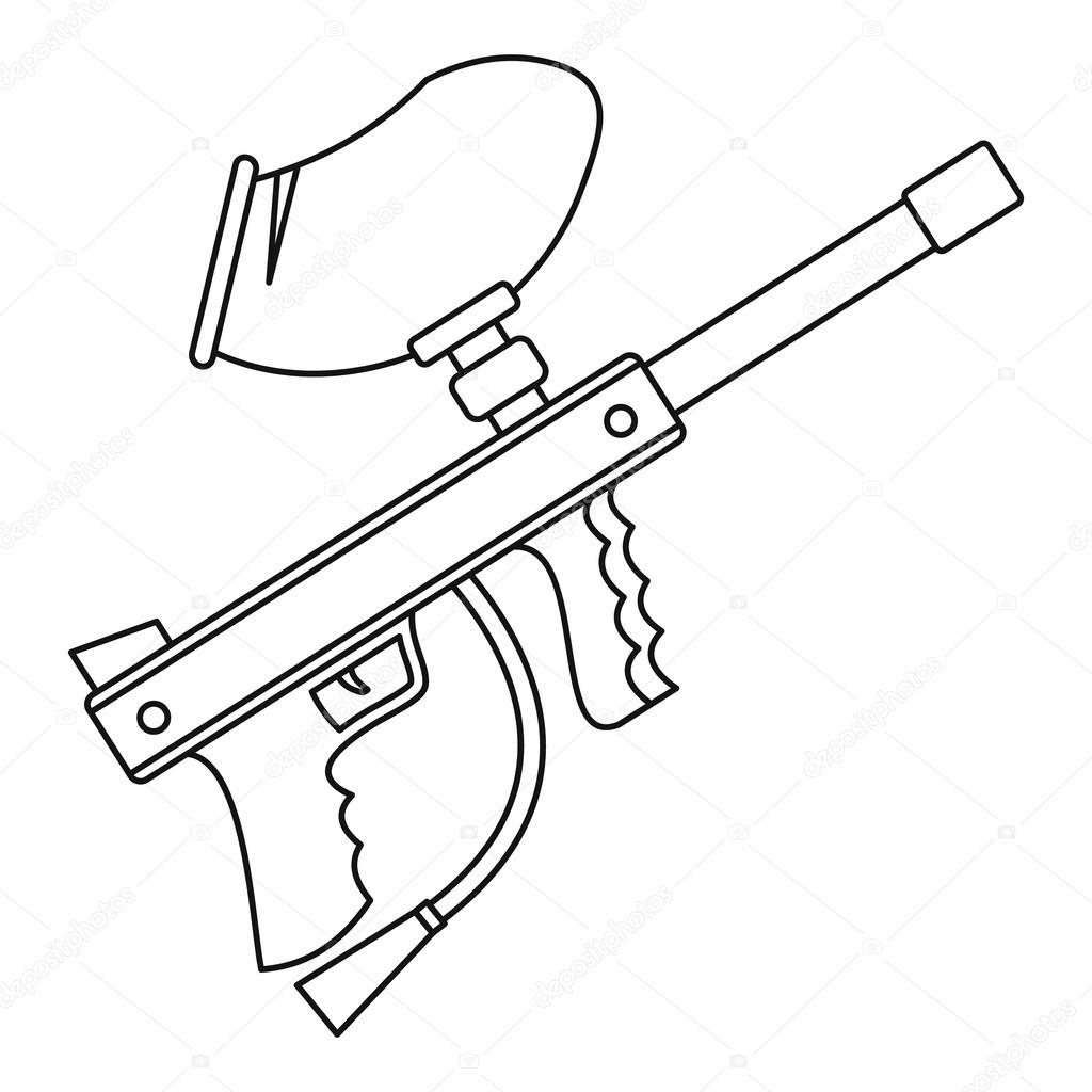 Paintball Gun Iconoutline Style Stock Vector Ylivdesign 125797788