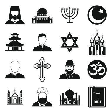 Religious symbol icons set, simple style