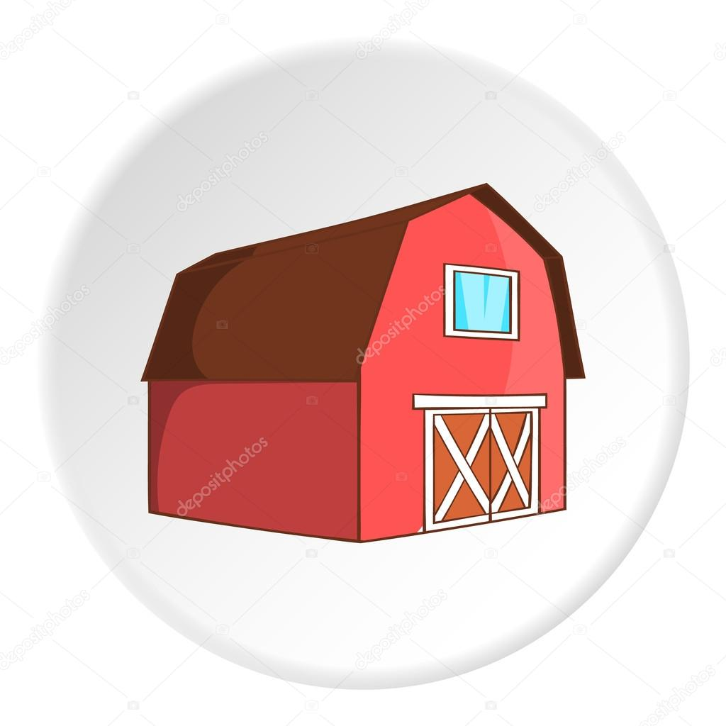 Barn For Animals Icon In Cartoon Style Isolated On White Circle Background Farm Symbol Vector Illustration By Ylivdesign