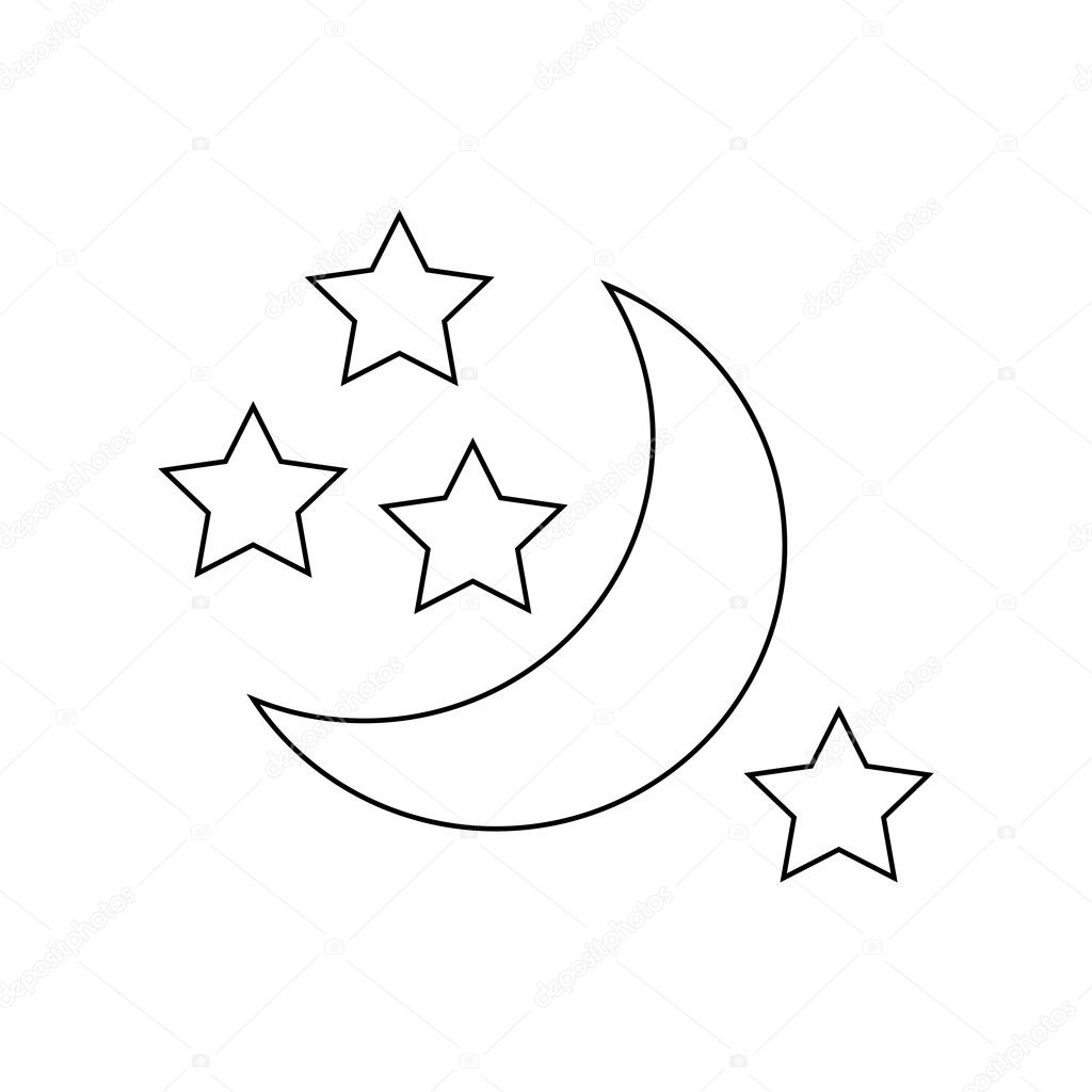 moon and stars icon outline style — stock vector
