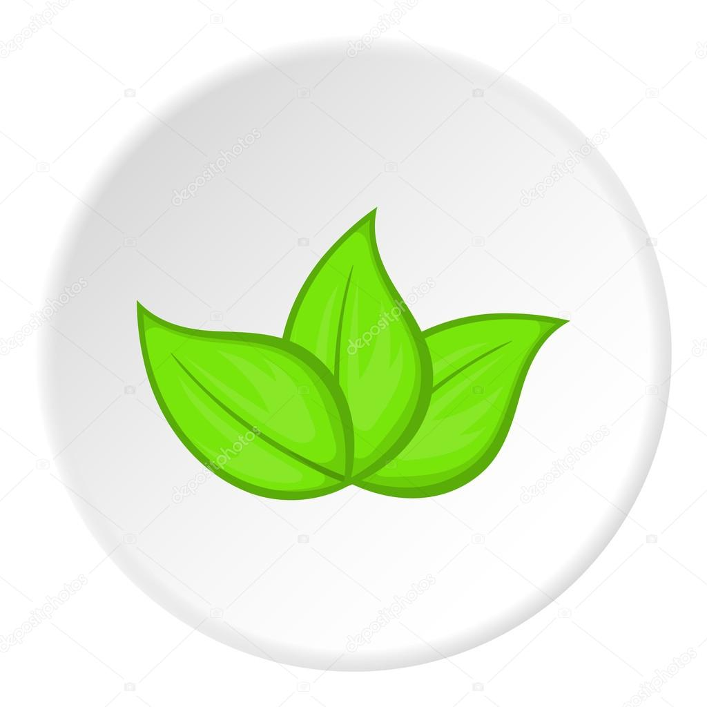 Mint Leaves Organic Logo Concept: Green Leaves Icon, Cartoon Style Stock Vector