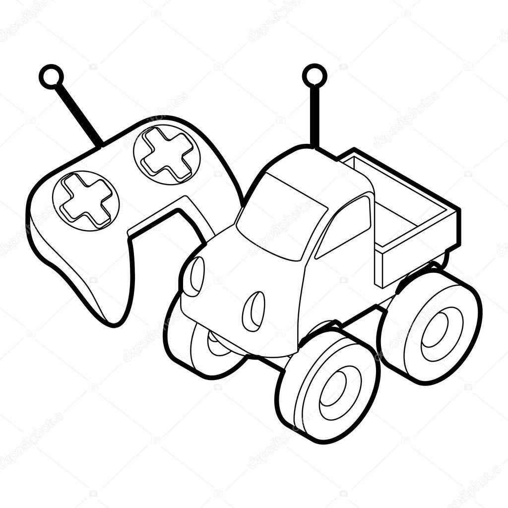 Juguete de control remoto de coches, estilo de contorno — Vector de ...