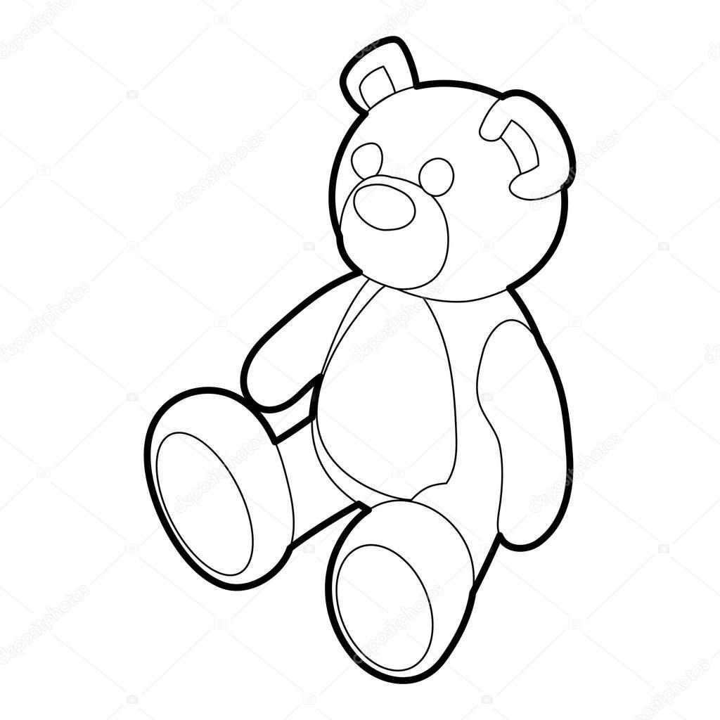 Vector Teddy Bear Lines Icono De Osito Estilo De