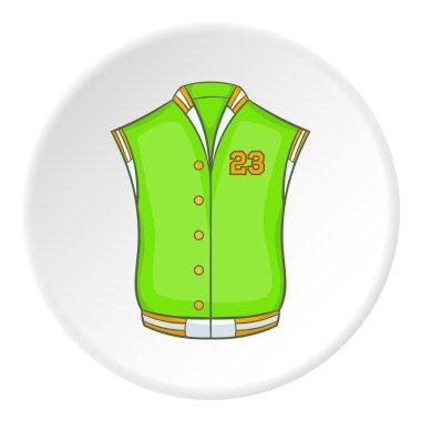 Green baseball jacket icon. artoon illustration of baseball jacket vector icon for web stock vector