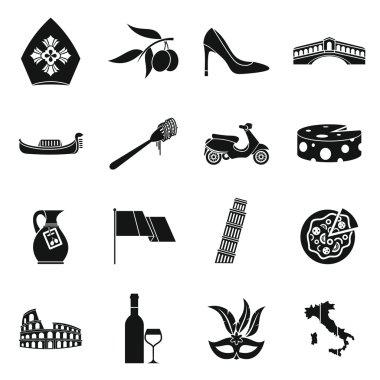 Italia icons set, simple style