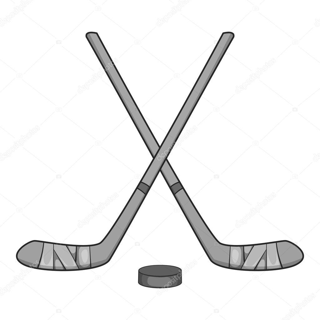 Palos de hockey y el icono de disco, estilo monocromo gris — Archivo ...