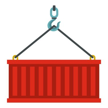 Container lifted by a crane icon, flat style