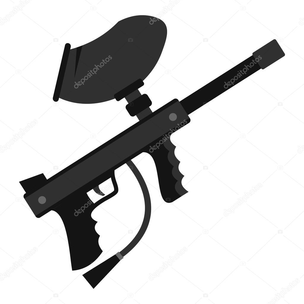 Paintball Marker Gun Icon Flat Style Stock Vector Ylivdesign