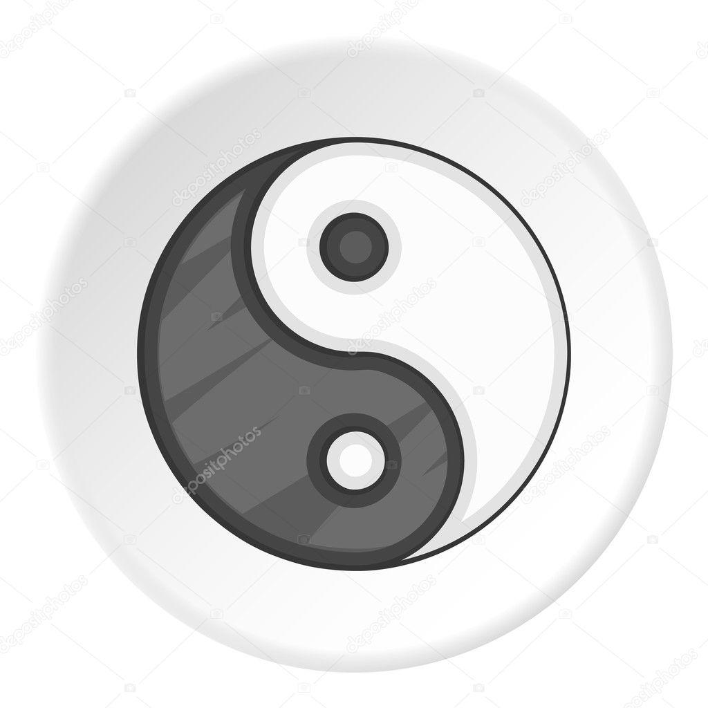 Icono De Yin Yang Estilo De Dibujos Animados Archivo Imágenes