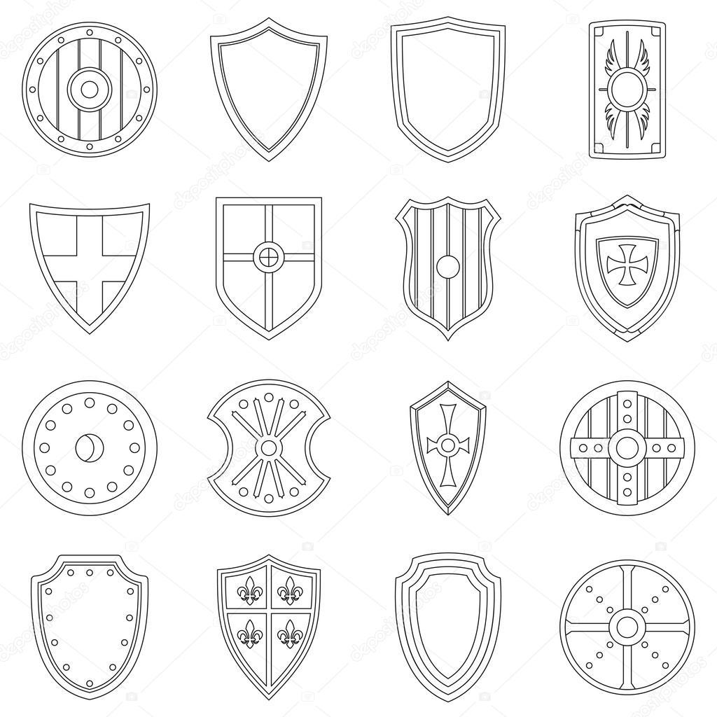 Schild Rahmen Icons Set, Umriss-Stil — Stockvektor © ylivdesign ...
