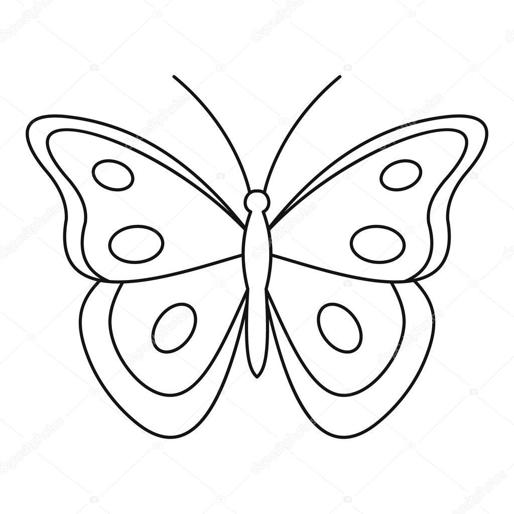 Contorno De Mariposa Para Colorear Aphantopus Mariposa Icono De