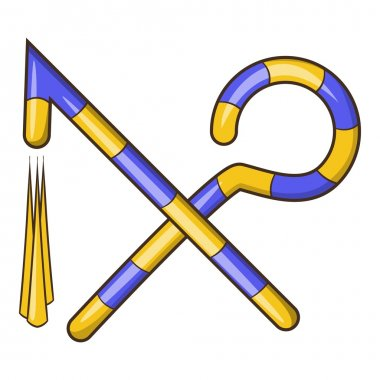 Osiris crossed hook and flail icon, cartoon style