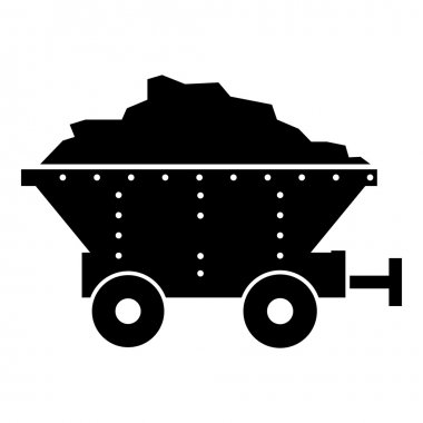 Small coal trolley icon, simple style