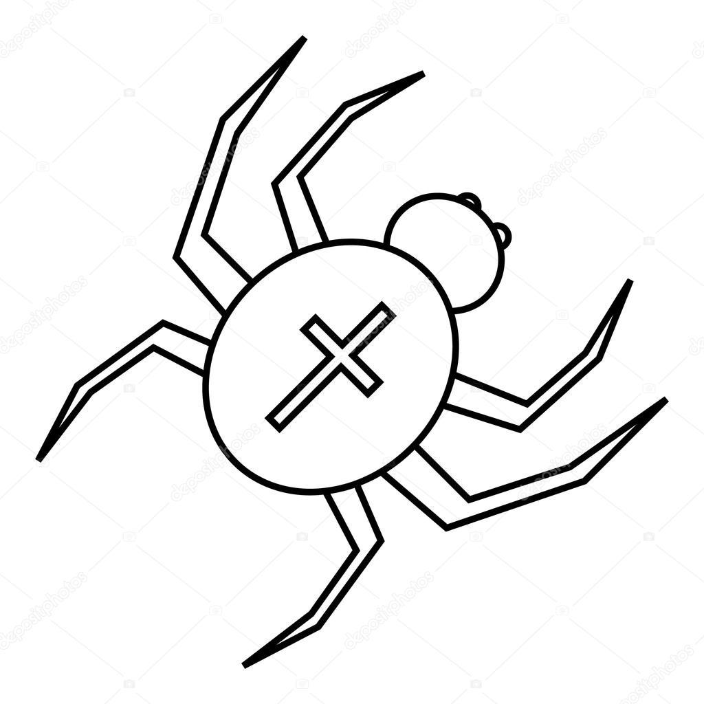 Spindel Med Kors Pa Ryggen Ikon Dispositionsformat Stock