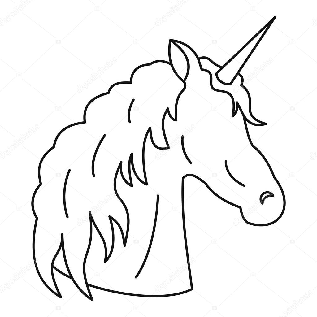 Icono de unicornio estilo de contorno vector de stock for Decor outline