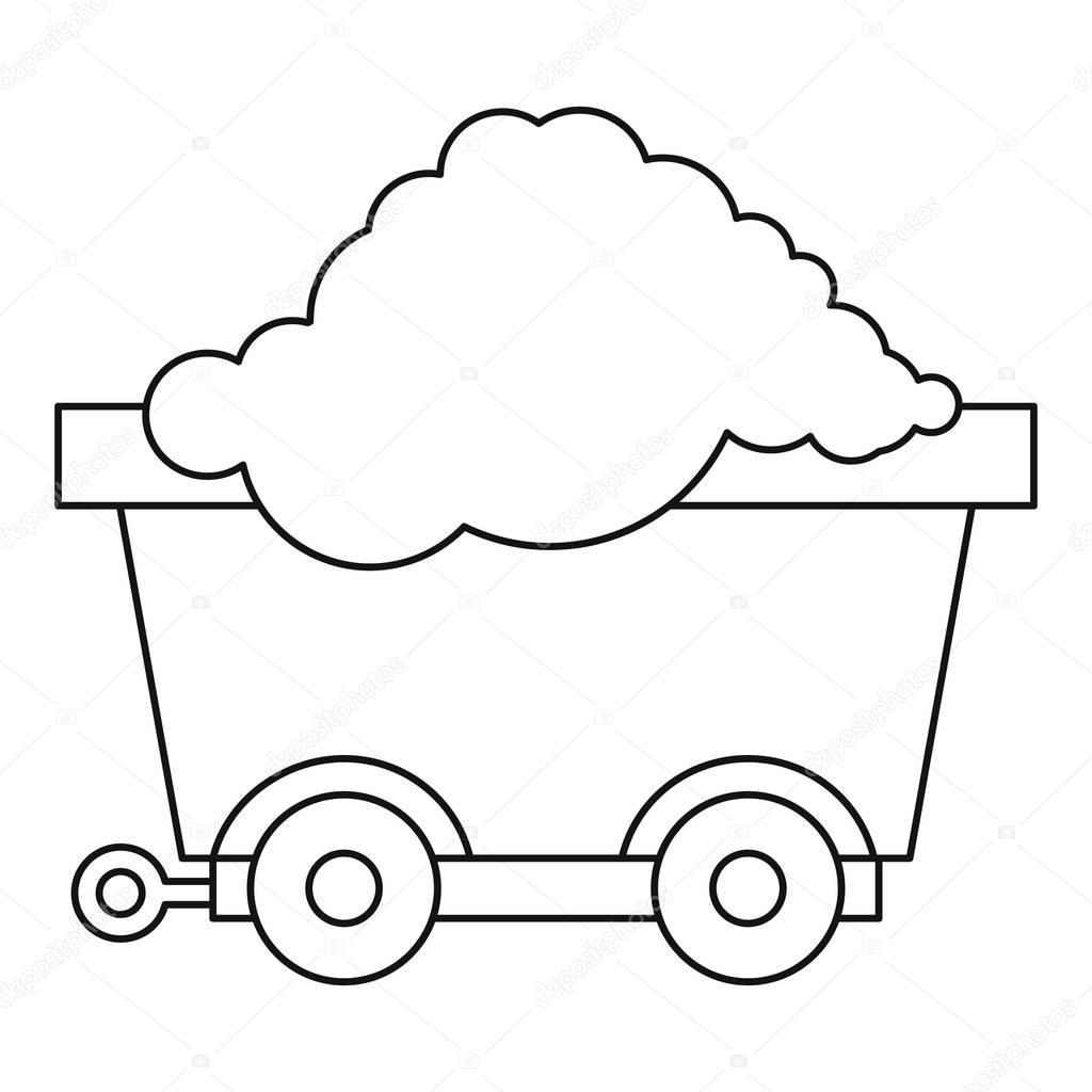 Carro sobre ruedas con icono de carbón, estilo de contorno — Archivo ...