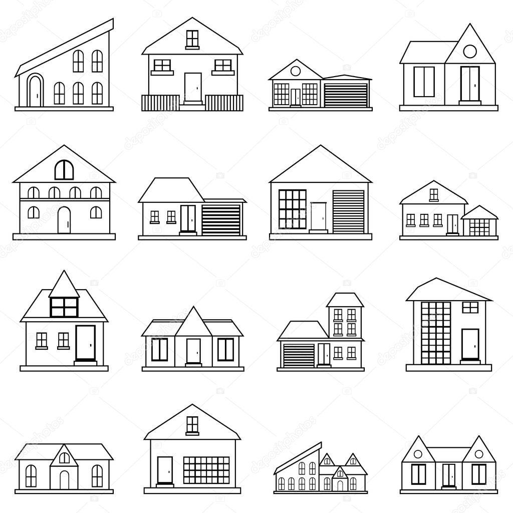 Häusern Symbole gesetzt, Umriss-Stil — Stockvektor © ylivdesign ...