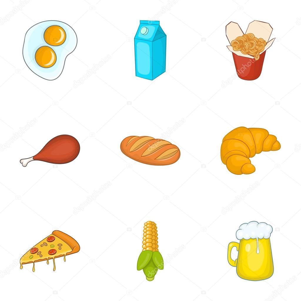 Imágenes Animadas De Alimentos Saludables Conjunto De Iconos