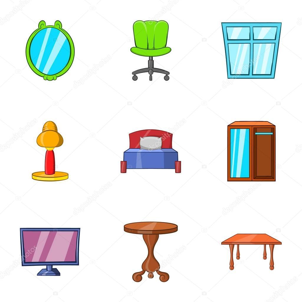 Sistema De Iconos De Muebles Estilo De Dibujos Animados Archivo  # Muebles Dibujos Animados