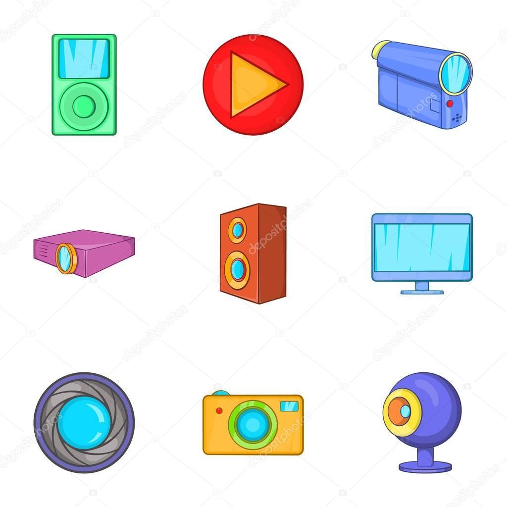 Elektronische Geräte Symbole gesetzt, Cartoon-Stil — Stockvektor ...