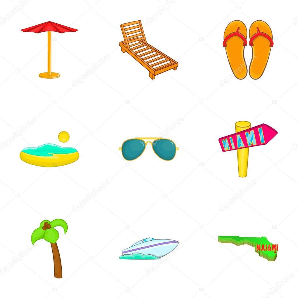 Soggiornare a Miami icone set, stile del fumetto — Vettoriali Stock ...