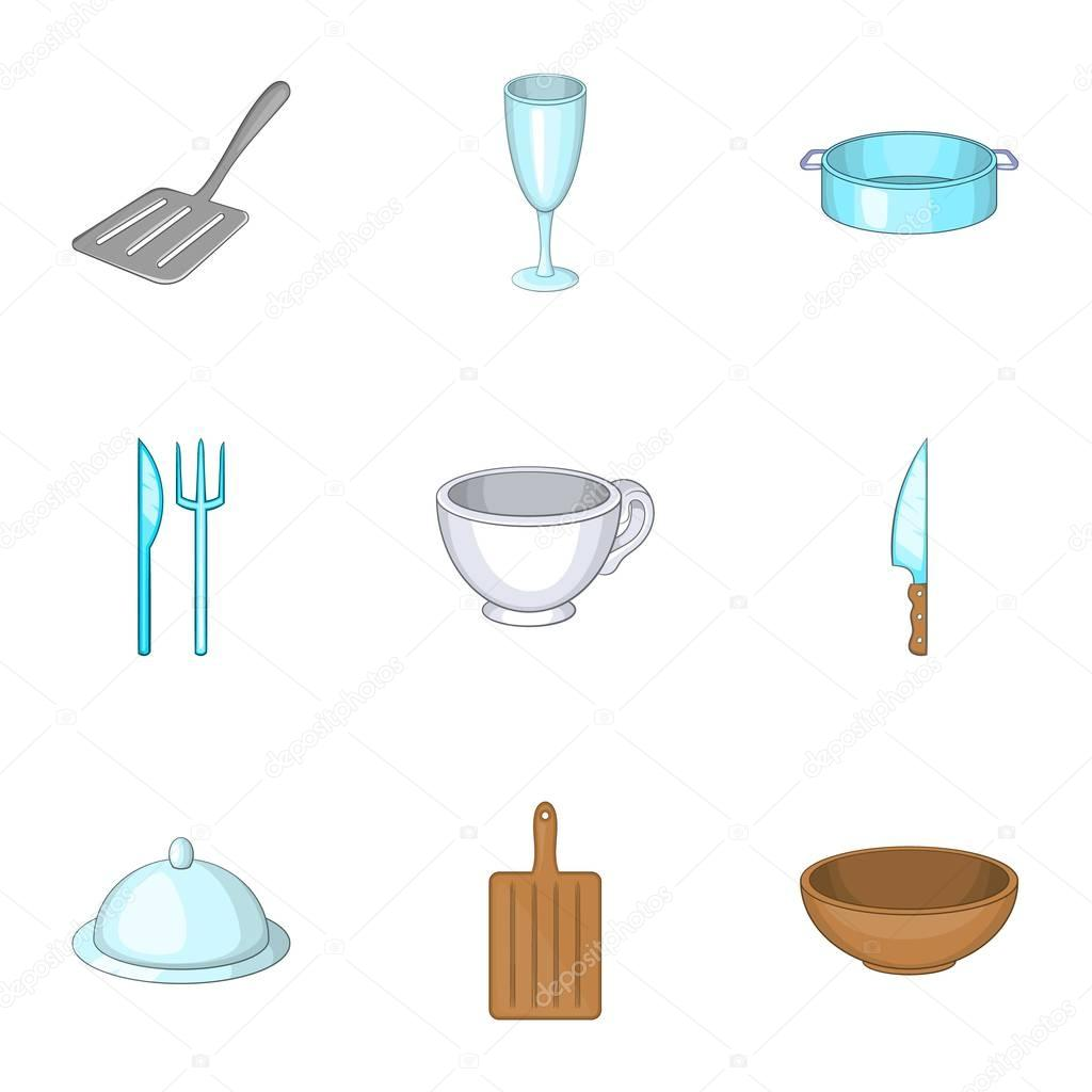 Dining Items Icons Set Cartoon Style Stock Vector C Ylivdesign 130114822