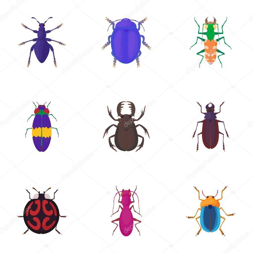 Hmyzu Brouci Ikony Set Kresleny Styl Stock Vektor C Ylivdesign