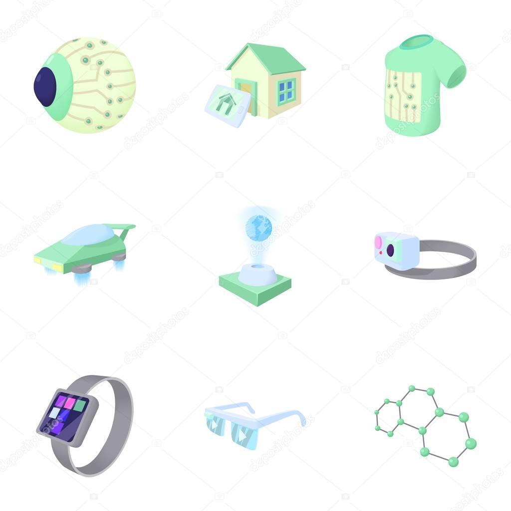 Neueste elektronische Geräte Symbole gesetzt, cartoon-Stil ...