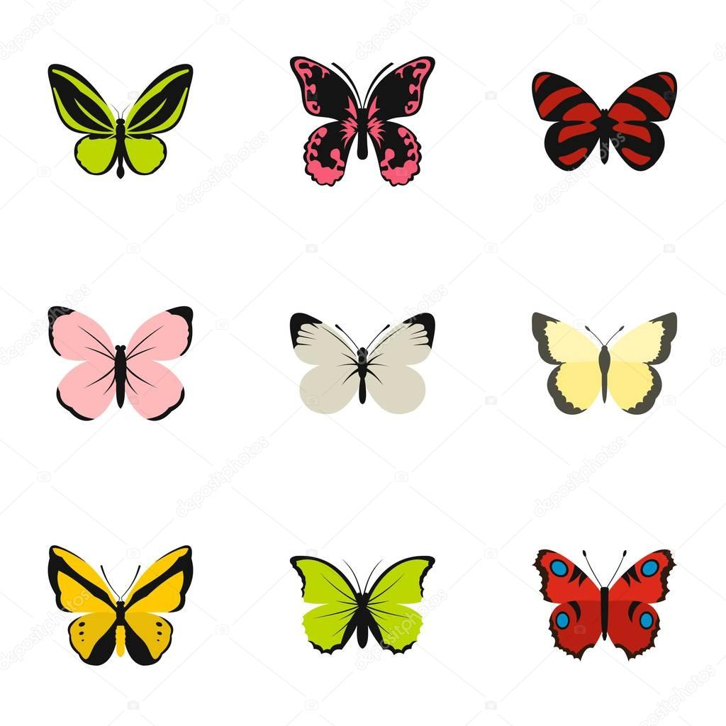 0d2621fbd5f Tipos de conjunto de iconos de mariposas, estilo plano — Vector de stock