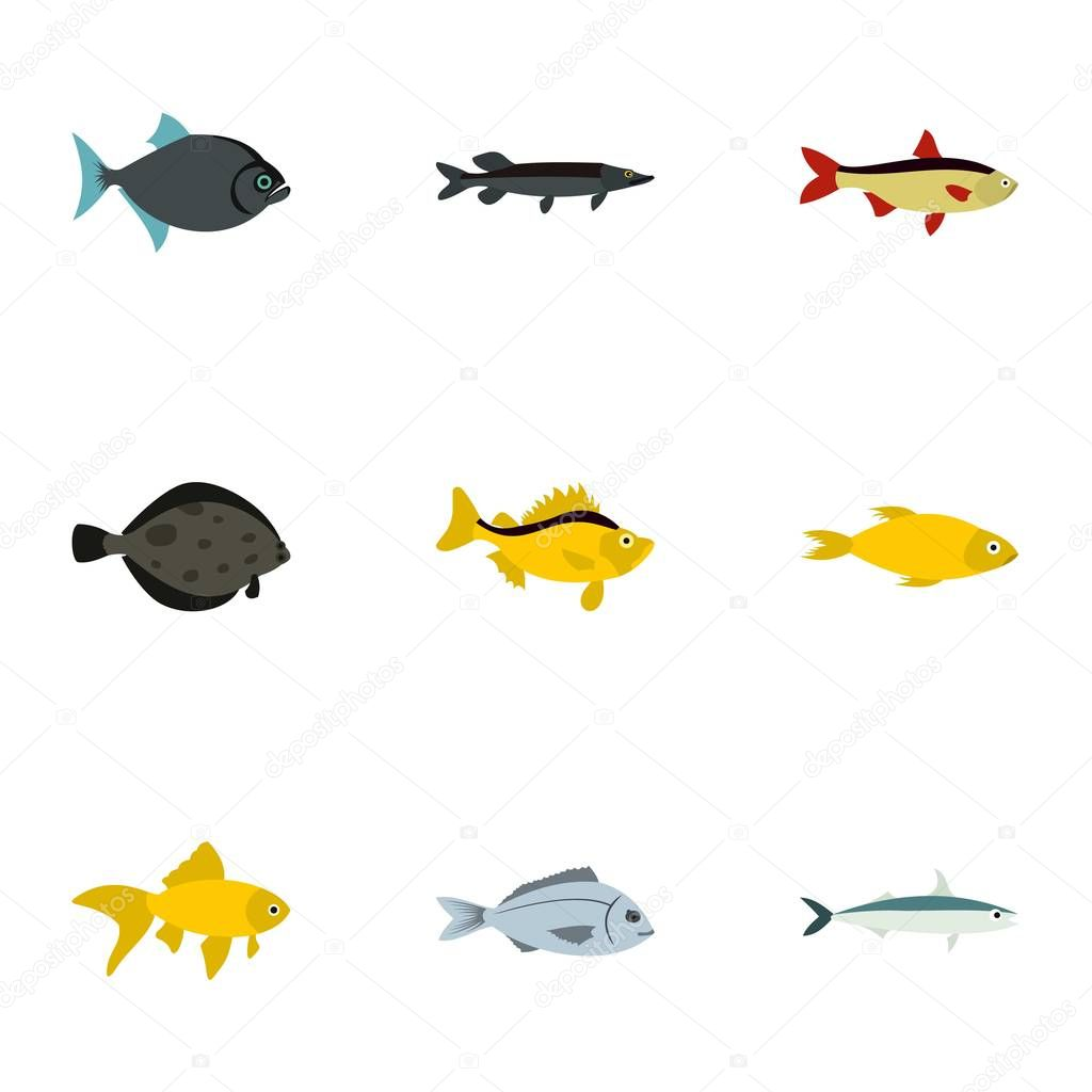 Tropical fish icons set flat style stock vector ylivdesign tropical fish icons set flat style stock vector jeuxipadfo Images