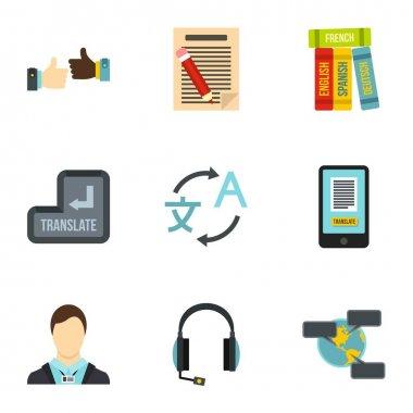 Foreign language icons set, flat style