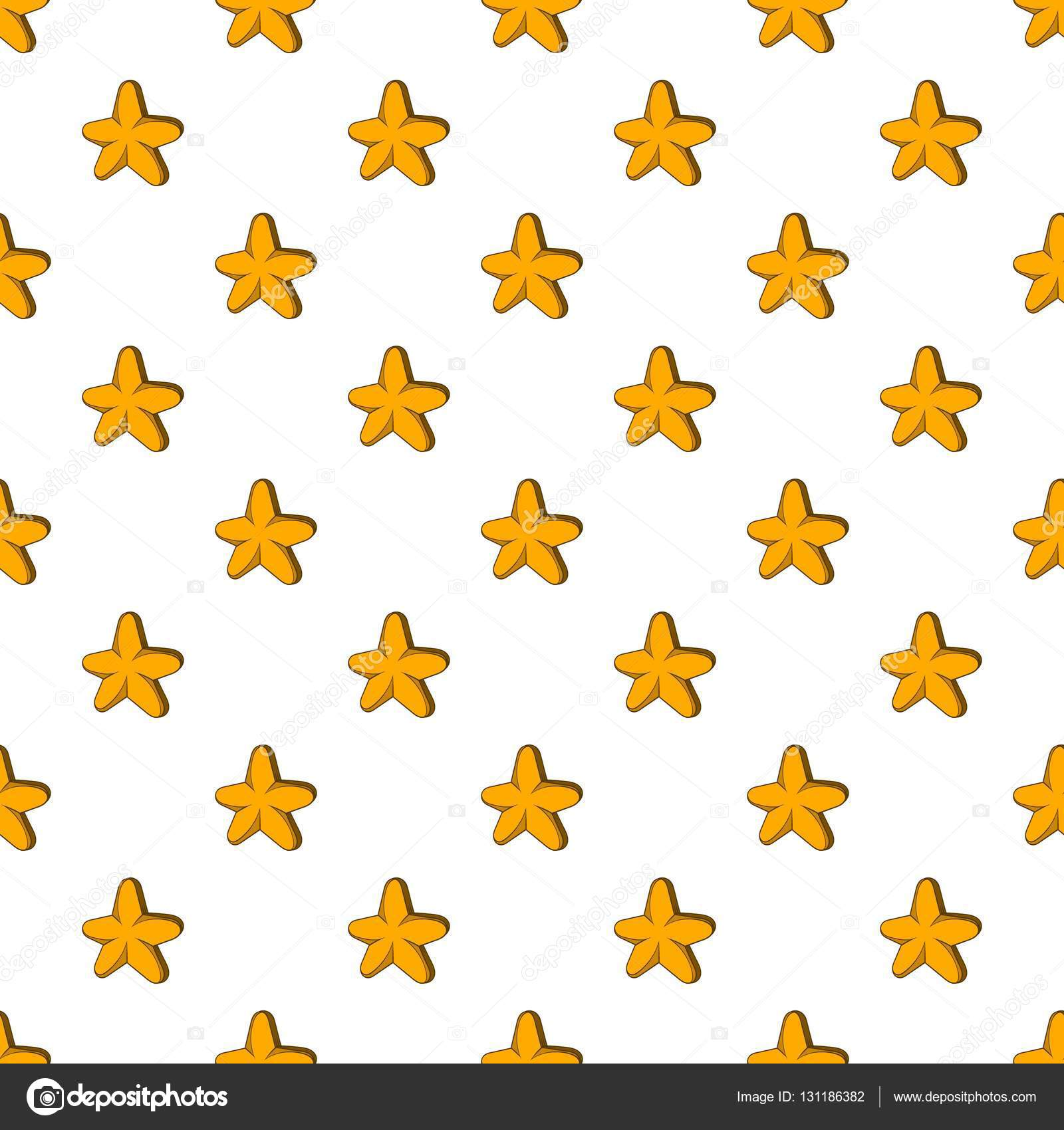 Five Pointed Star Pattern Cartoon Style Stock Vector
