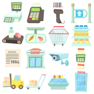 Supermarket items icons set, cartoon style