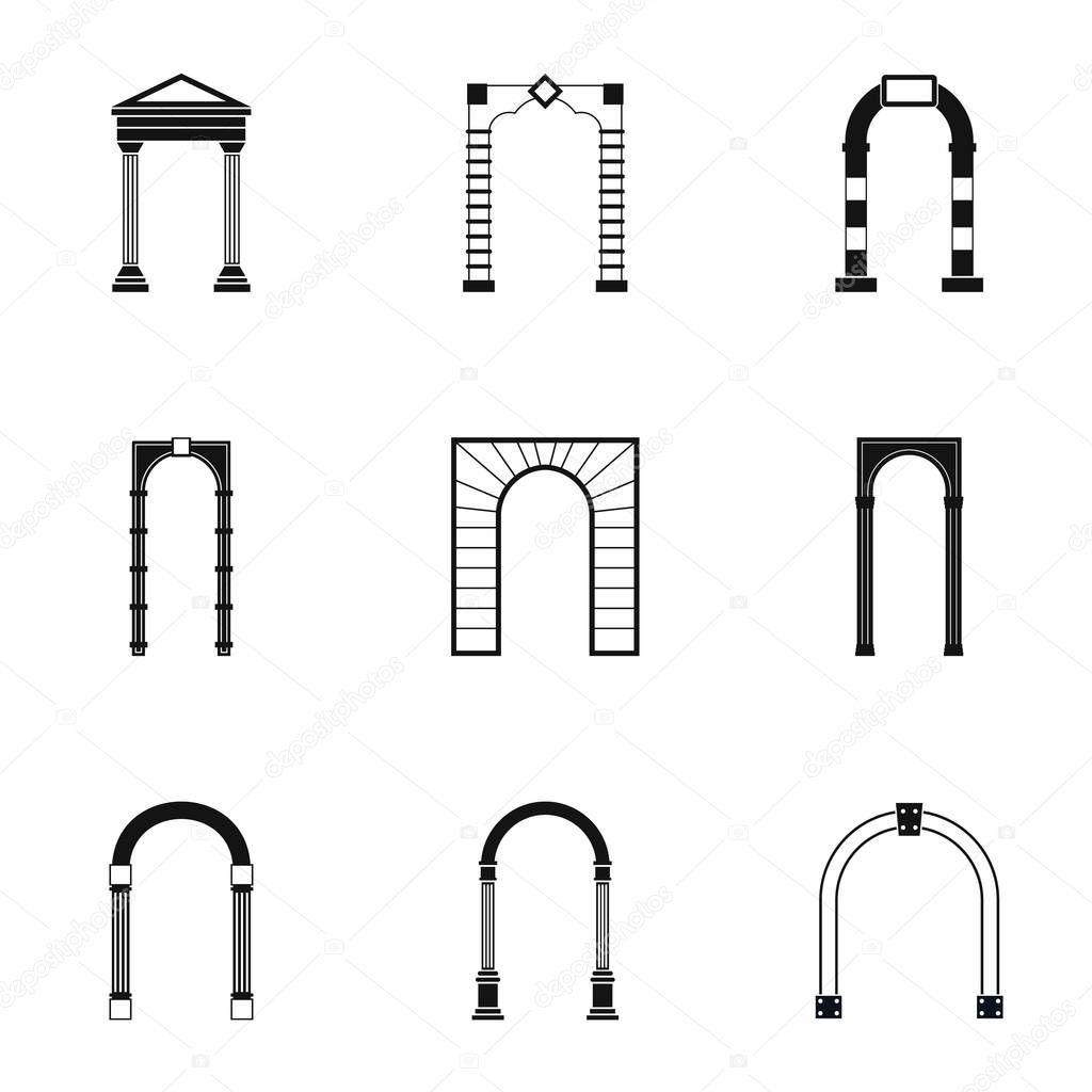 Tipi di set di icone di archi stile semplice vettoriali for Tipi di stile