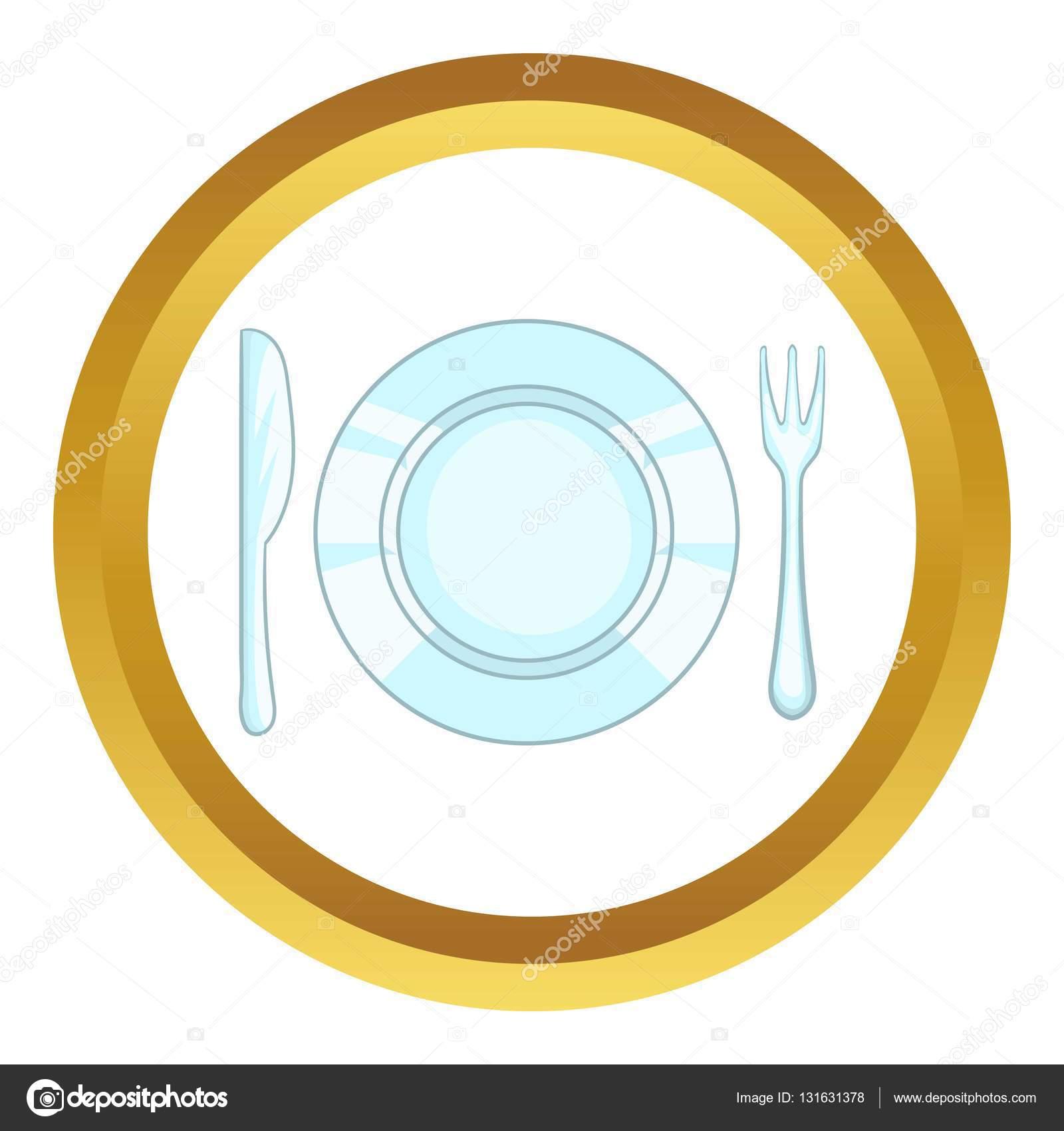 Plato con cuchillo y tenedor vector icono vector de for Plato tenedor y cuchillo