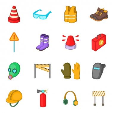 Safety work icons set, cartoon style