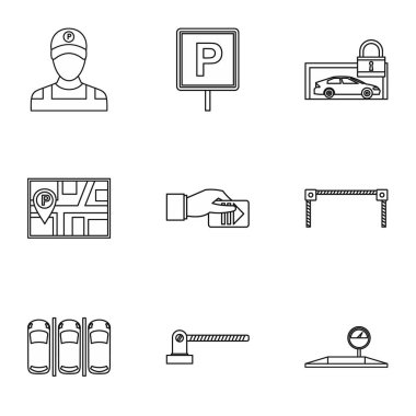 Valet parking icons set, outline style