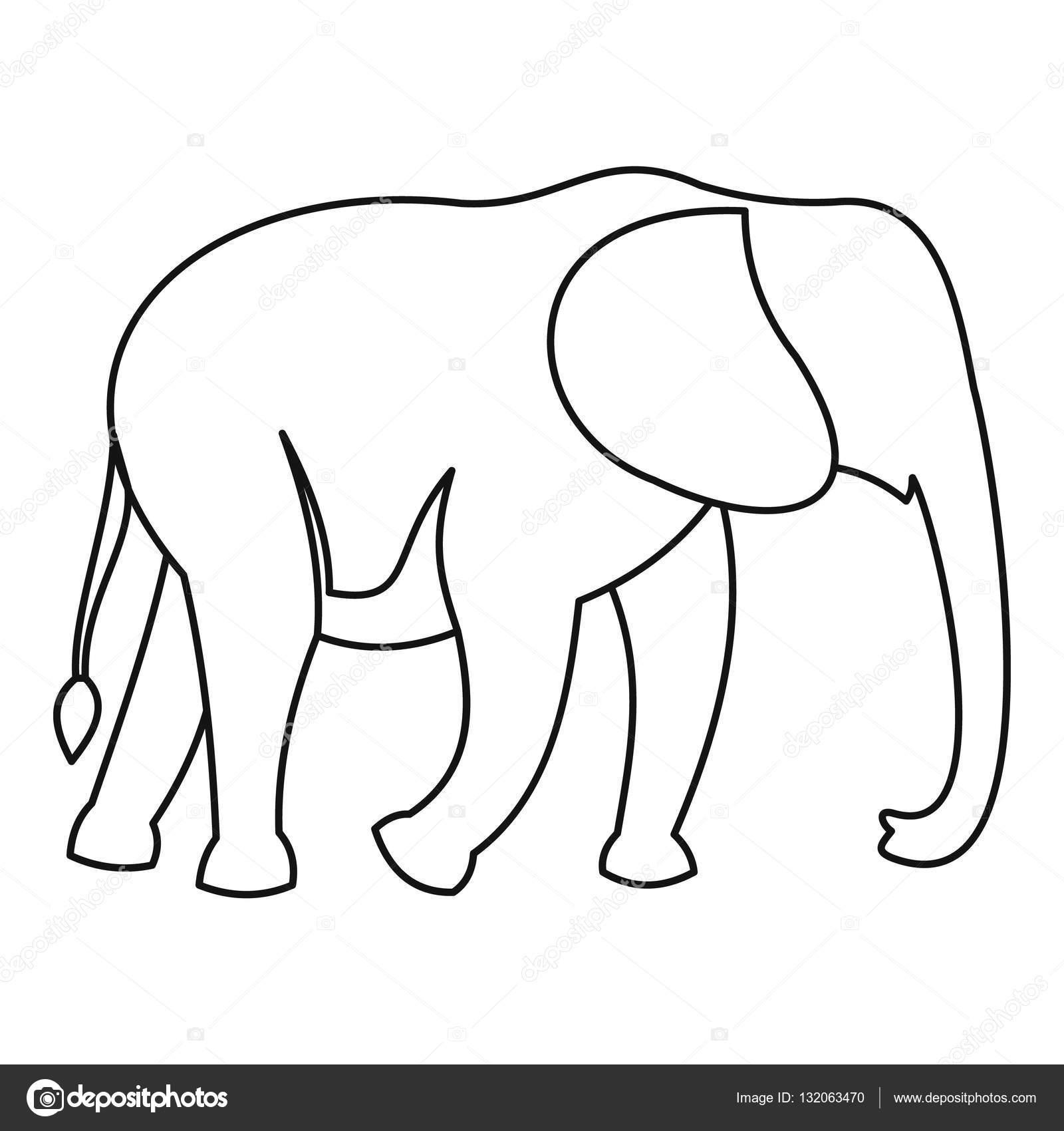 Elefant-Symbol, Umriss-Stil — Stockvektor © ylivdesign #132063470