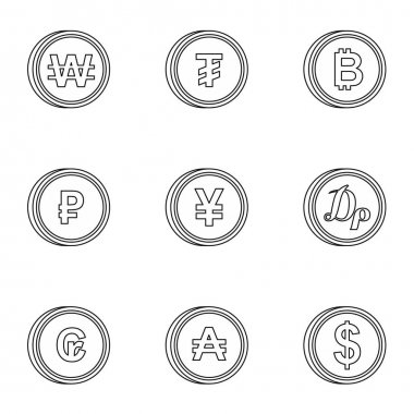 Types of money icons set, outline style