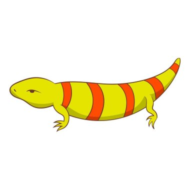 Stripped lizard icon, cartoon style