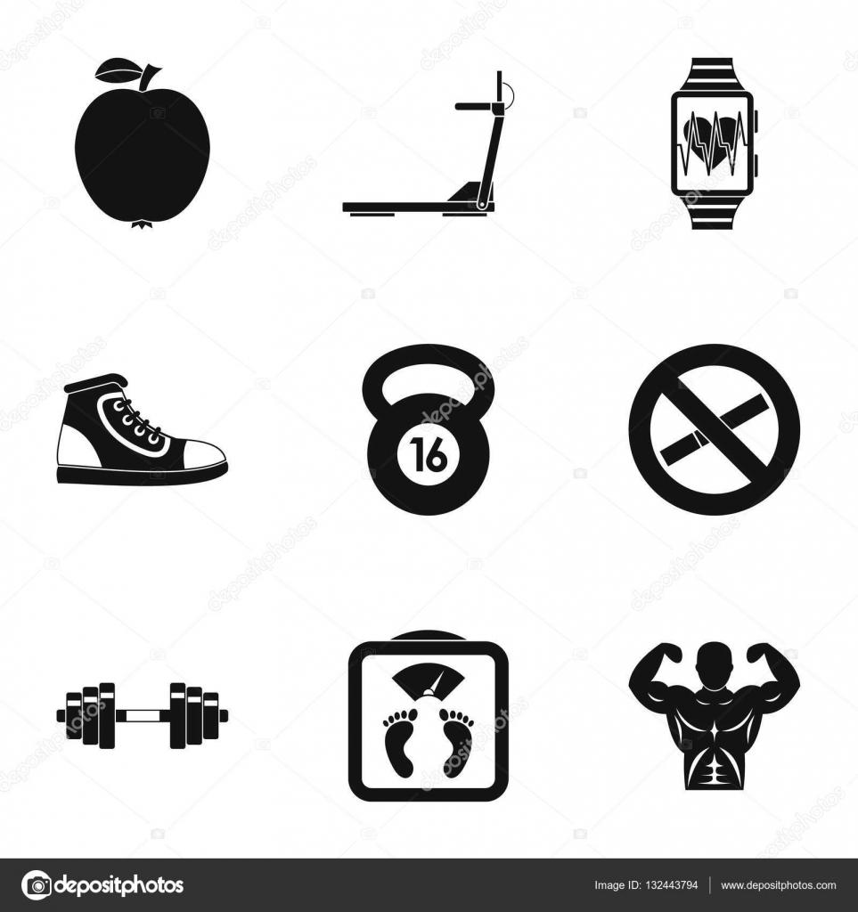Sport Symbole gesetzt, einfachen Stil — Stockvektor © ylivdesign ...