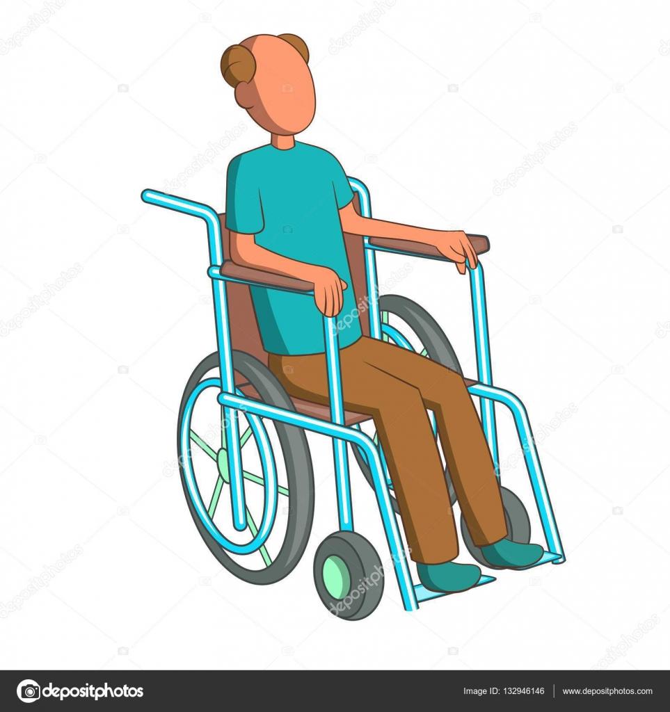 Hombre en icono de la silla de ruedas estilo de dibujos for Sillas para dibujar facil