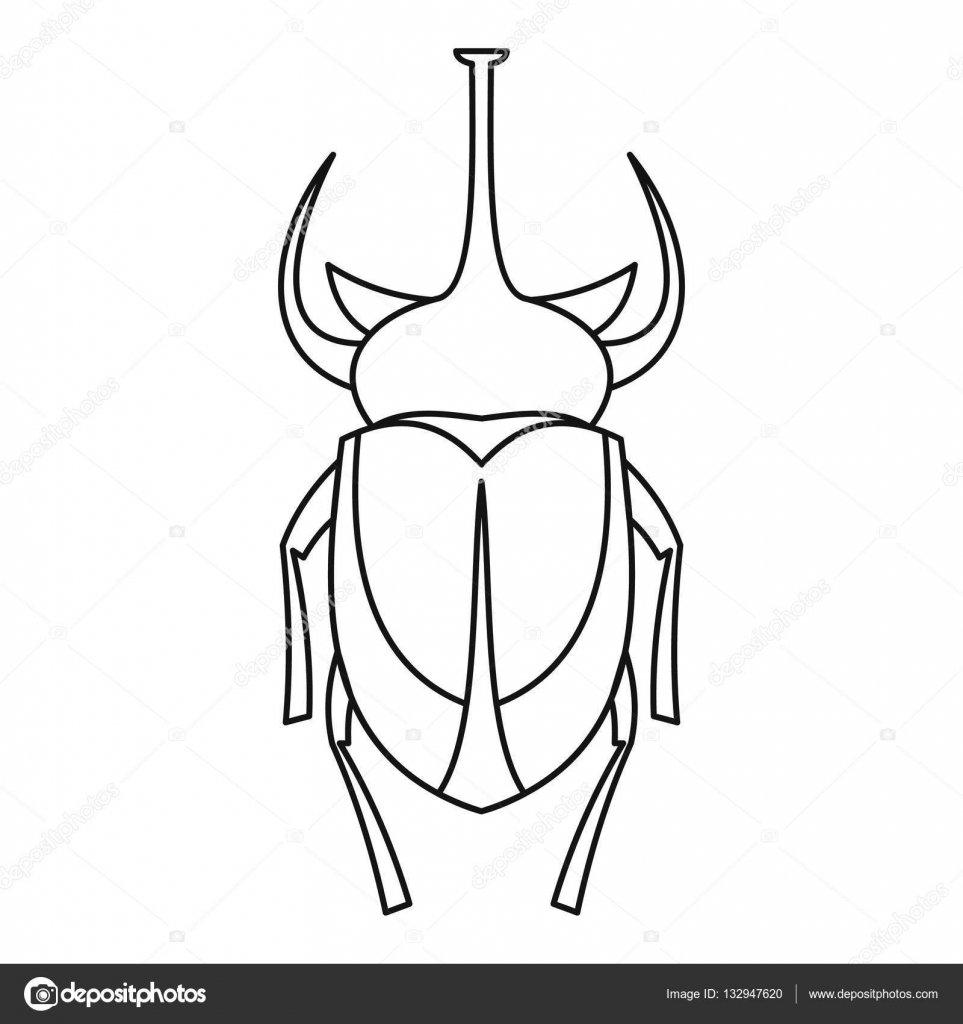 European rhinoceros beetle icon outline style stock for Decor outline