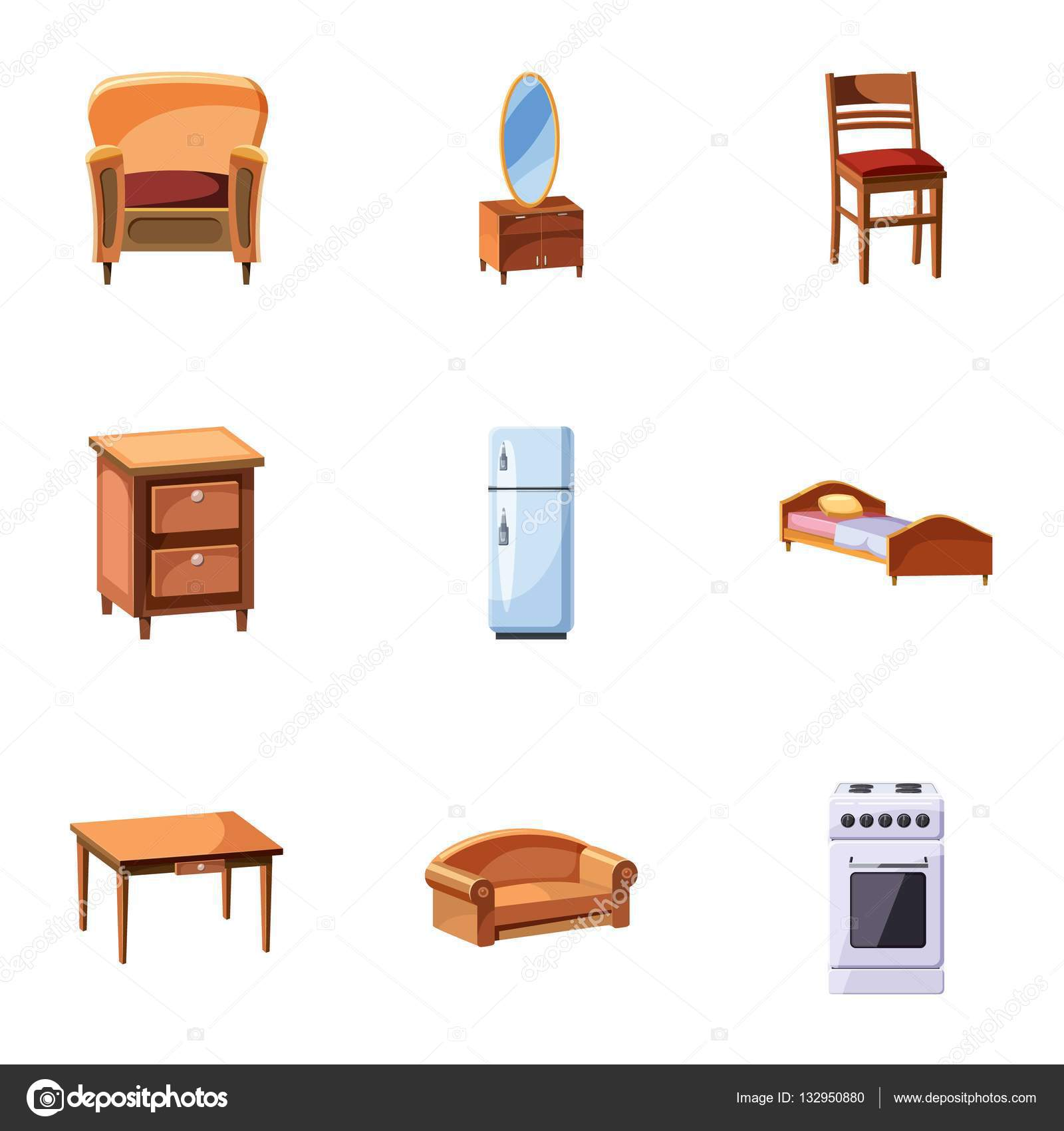 Home furnishings icons set cartoon style stock vector for Muebles economicos para el hogar