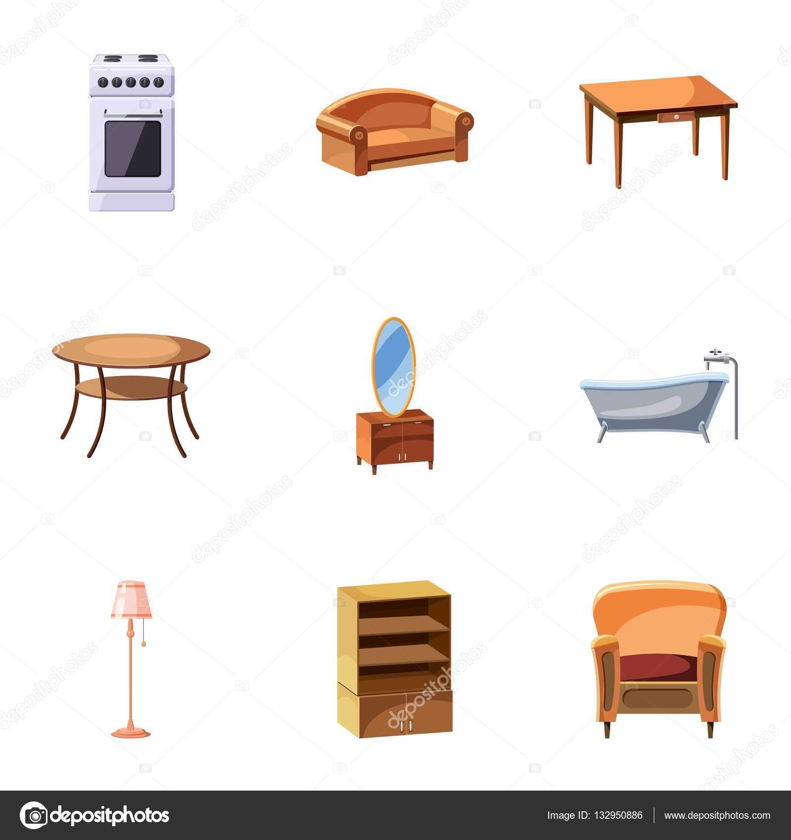 Sistema De Iconos De Muebles Estilo De Dibujos Animados Vector  # Muebles Dibujos Animados