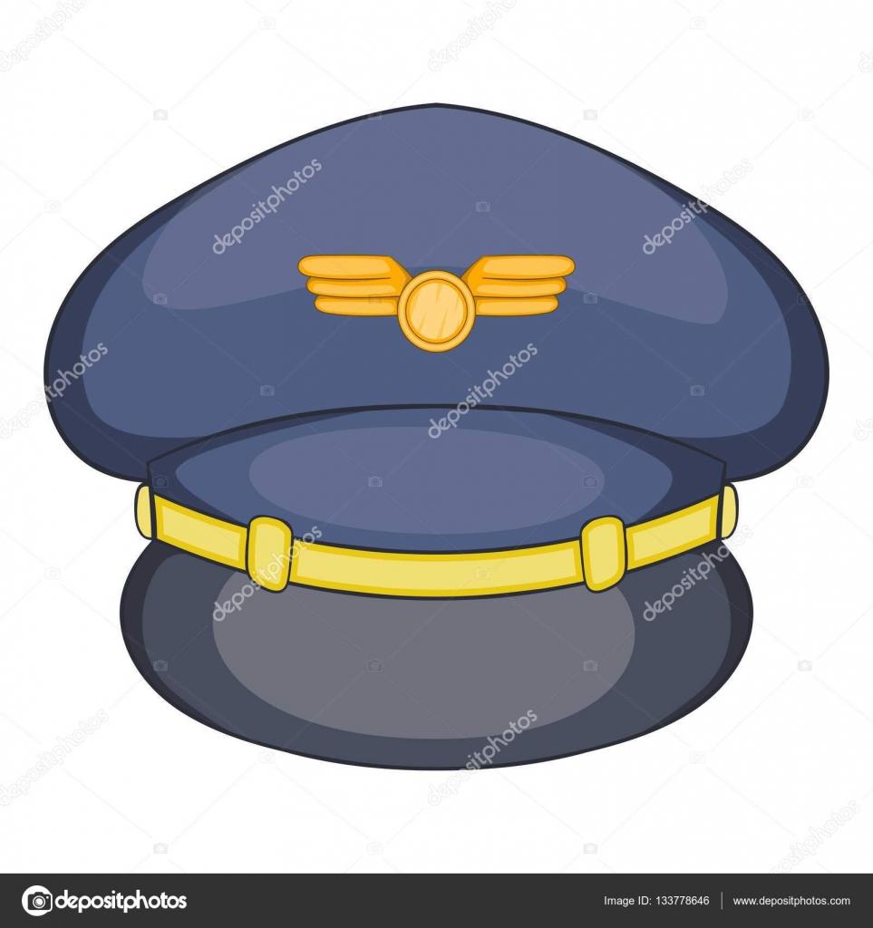 Icono del sombrero del piloto, estilo de dibujos animados — Archivo ...